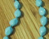 BJC SALE Chunky Blue South Sea Pearl Nugget Turquoise Swarovski Crystal Beaded Necklace - Free Shipping