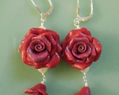 Red Rose Intricate Polymer Clay Handmade Beaded, Pearl, Sterling Silver SS Earrings