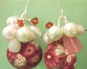 Lampwork Style Chintz Rose Polymer Clay, Pearl, Jade, Swarovski Crystal Sterling Silver Earrings