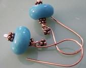Turquoise, Pure Copper Bali Earrings