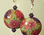Poinsettia Polymer Clay, Rose Swarovski Crystal, Holiday, Christmas Sterling Silver Leverback Earrings