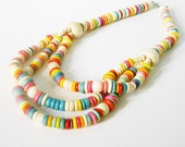 Vintage rainbow candy wood beaded multiple strand necklace - fun and happy and perfect for summer - bright blue pink red yellow wooden beads