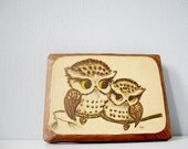 Vintage owl art wall hanging - wood plaque with parent and baby owl - retro art