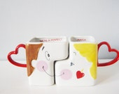 Vintage his & hers kissing mugs - romantic adorable sweet We're a Perfect Match cup pair with hearts