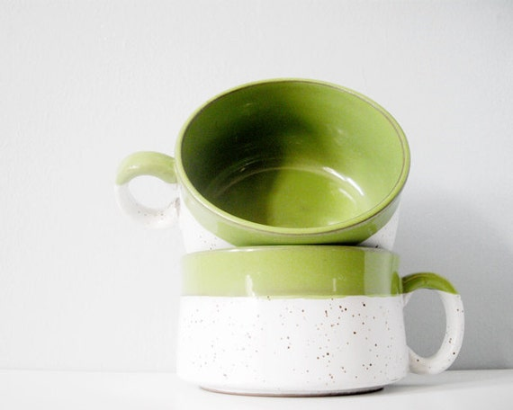 Soup bowl large coffee cup lime green - vintage stacking cups set of two mugs