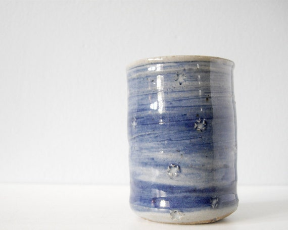 Handmade pottery small cup star blue grey ceramic tumbler shot glass juice cup bud vase