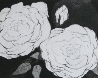 Peonies - acid line, drypoint and aquatint etching