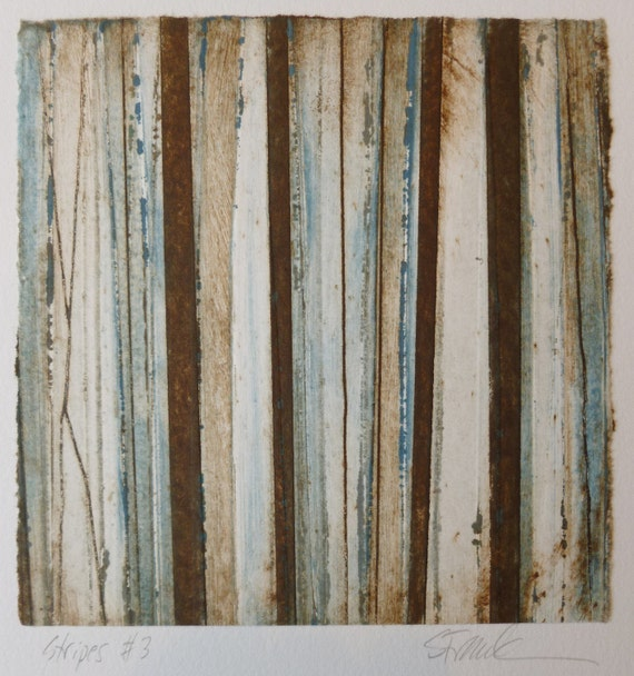 Stripes 3 blue, brown and white striped Collograph hand-pulled print
