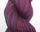 Hand Dyed Burgundy Red and Purple Superwash Merino Nylon Sock Yarn