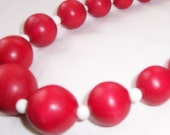 red white and wood necklace