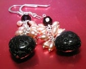 loving the lava, black heart and crystal earrings