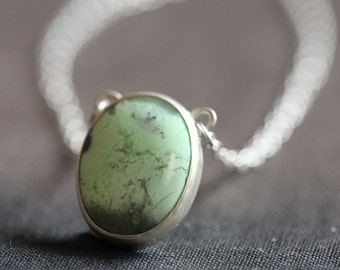 Mint chrysoprase, clouds and stars pendant, hand fabricated sterling necklace, ooak
