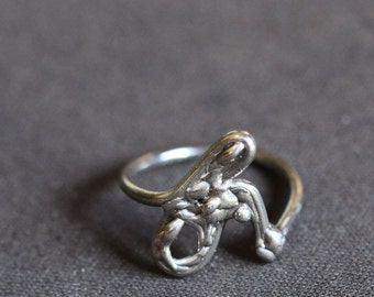 Doodle ring, sterling silver sketch, size 7