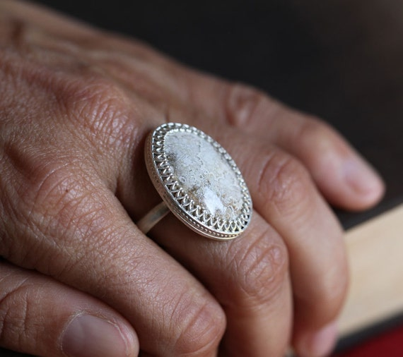 Reserved for Cassandra, The Snow Queen, sterling and white agate ring, snowstorm ring