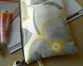 Silver Leaves - Square Zipper Pouch with Clip