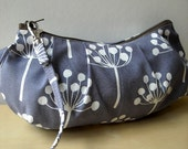 Spring Buds in Navy - Zipper Pouch with Clip