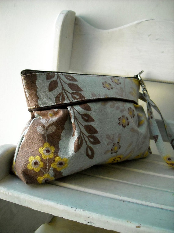 Blue Gray Floral - Zipper Pouch with Clip