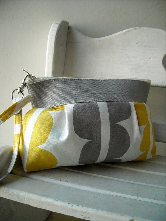 SALE- Yellow - Zipper Pouch with Clip