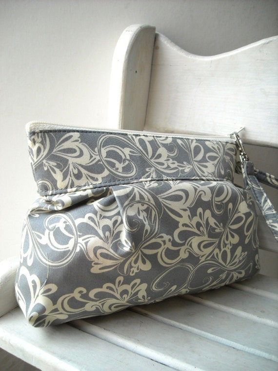 Rhythmic in Gray - Zipper Pouch with Clip