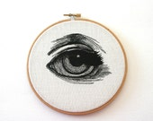 Human Eye Stitched Illustrated Hand Embroidered Wall Art