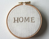 HOME Embroidered Illustration Wooden Hoop Wall Plaque