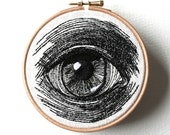 Human Eye Original Stitched Illustrated Wall Plaque
