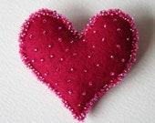 Felt Heart Brooch Beaded Sweetheart Token