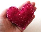 Shocking Pink Glass Beaded Felt Heart Brooch