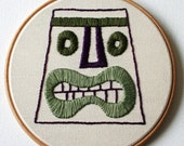 Tiki Head Hand Embroidered Plaque Moss Green Purple Hoop Art