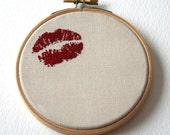 Hoop Art Lipstick Traces Hand Embroidered Sweetheart Wall Plaque