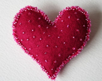 Felt Heart Brooch Beaded Sweetheart Token