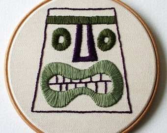 Tiki Head Hand Embroidered Plaque Moss Green Purple Hoop Art