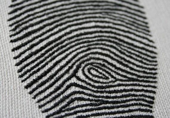 Hand Embroidered Fingerprint Stitch Illustrated Plaque