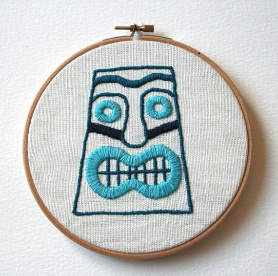 Blue Lagoon Tiki Head Hand Embroidered Wall Plaque Hoop Art