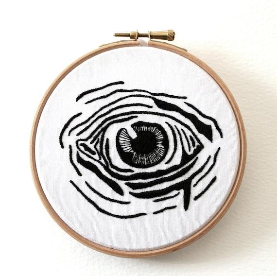 Alien Human Hybrid Eye Hand Embroidered Wall Plaque Hoop Art