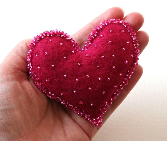 Shocking Pink Glass Beaded Felt Heart Brooch