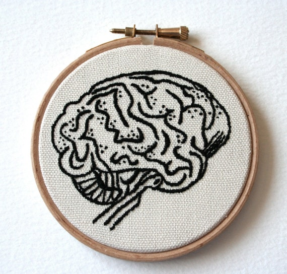 Hoop Art Brain Embroidery Hand Stitched Illustration Wall Plaque