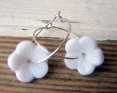 White Flower Hoop Earrings -  vintage white glass flower beads