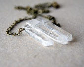 Crystal Point Necklace natural quartz crystal points with antique brass chain