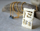 Deer Necklace - vintage carved bone pendant - nature-inspired jewelry - Woodland Fashion - Reclaimed - gift under 50