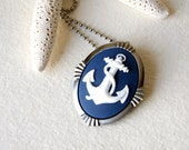 Nautical Anchor Necklace - white and navy - anchor necklace - anchor brooch - nautical fashion - Anchor Jewelry