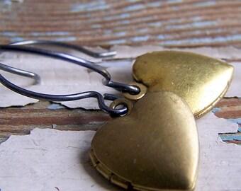 Vintage Brass Heart Locket Earrings - heart earrings - locket earrings - sterling silver earwires