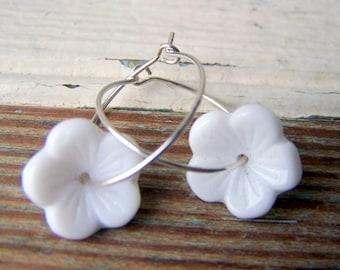 White Flower Hoop Earrings -  Hoop Earrings - sterling silver hoops - flower earrings - boho chic - floral jewelry - garden inspired