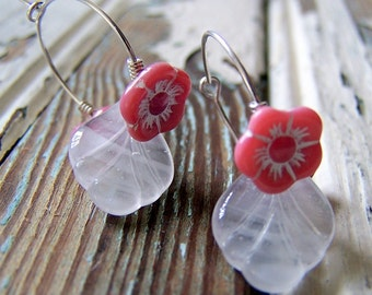 Pink and White Flower Earrings - Hoop Earrings - Garden Inspired - Floral Jewelry - Botanical Jewelry