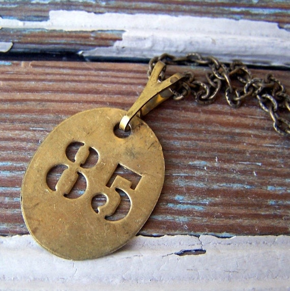 Number 85 - vintage brass tag necklace - other numbers available