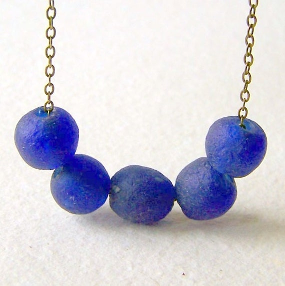 Cobalt Blue Recycled Glass Necklace  - Recycled Glass Necklace - brass chain
