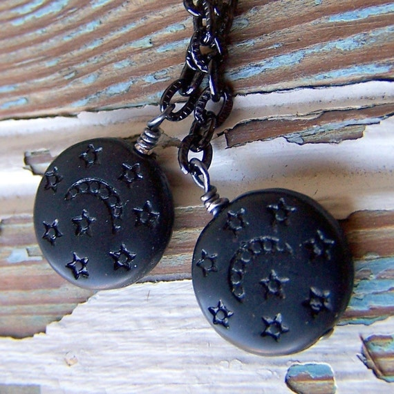 Moon and star earrings vintage black glass beads with etched stars and moon
