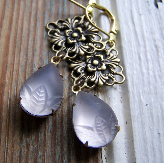 Lavender glass earrings vintage glass cabs with brass findings summer fashion Handmade by BlackStar