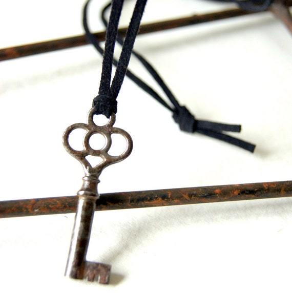 Antique Skeleton Key Necklace - black suede cord, Under 25, autumn, fall fashion - Handmade by BlackStar