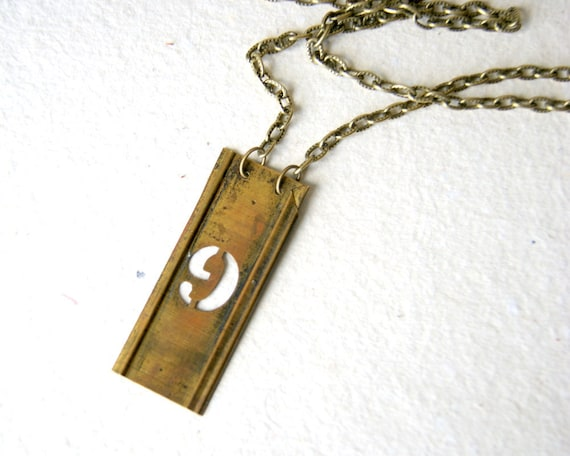 Vintage brass stencil number necklace - number 9 - other letters and numbers available